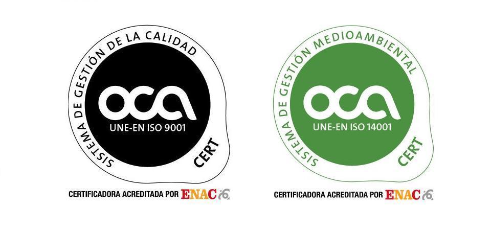 Empresa certificada en ISO 9001 e ISO 14001